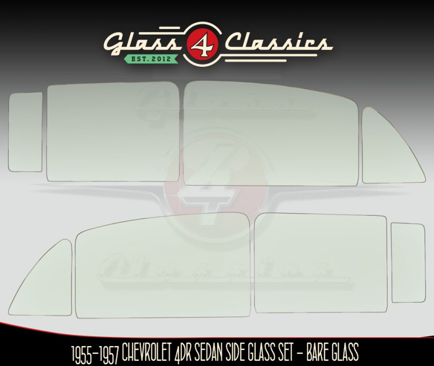 1955 to 1957 Chevrolet 4 door sedan side glass