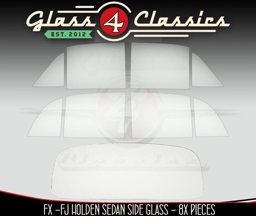 FX - FJ Holden Sedan side set & back glass package Glass 4 Classics