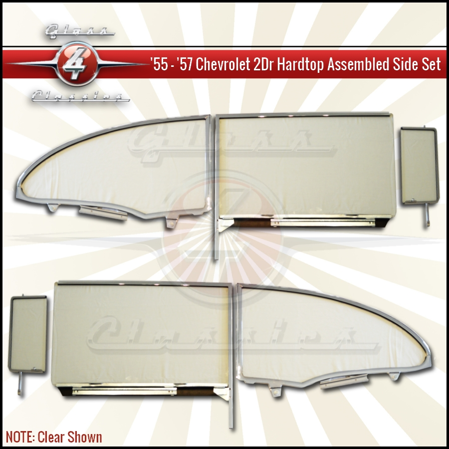 1957 chevrolet 2 door hardtop assembled side for Replacement windows for sale