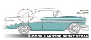 1956, 1957 Chevrolet 4 door hardtop back window