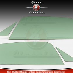 1967 - 1968 Ford Mustang Fastback Side Windows | NEW Glass