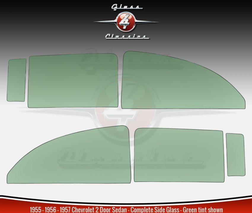 1955 1956 1957 Chevrolet 2 Door Sedan Side Window Set