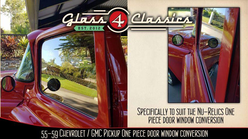1955 - 1959 Chevrolet GMC pickup One piece door glass vent delete, conversion glass